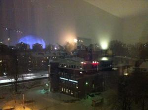 Globen höljd i snö