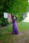 Madame hänger tvätt