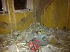 Det gamla fuktskadade badrummet rivet