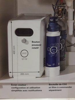Kylaggregat, filter och kolsyra under diskbänken